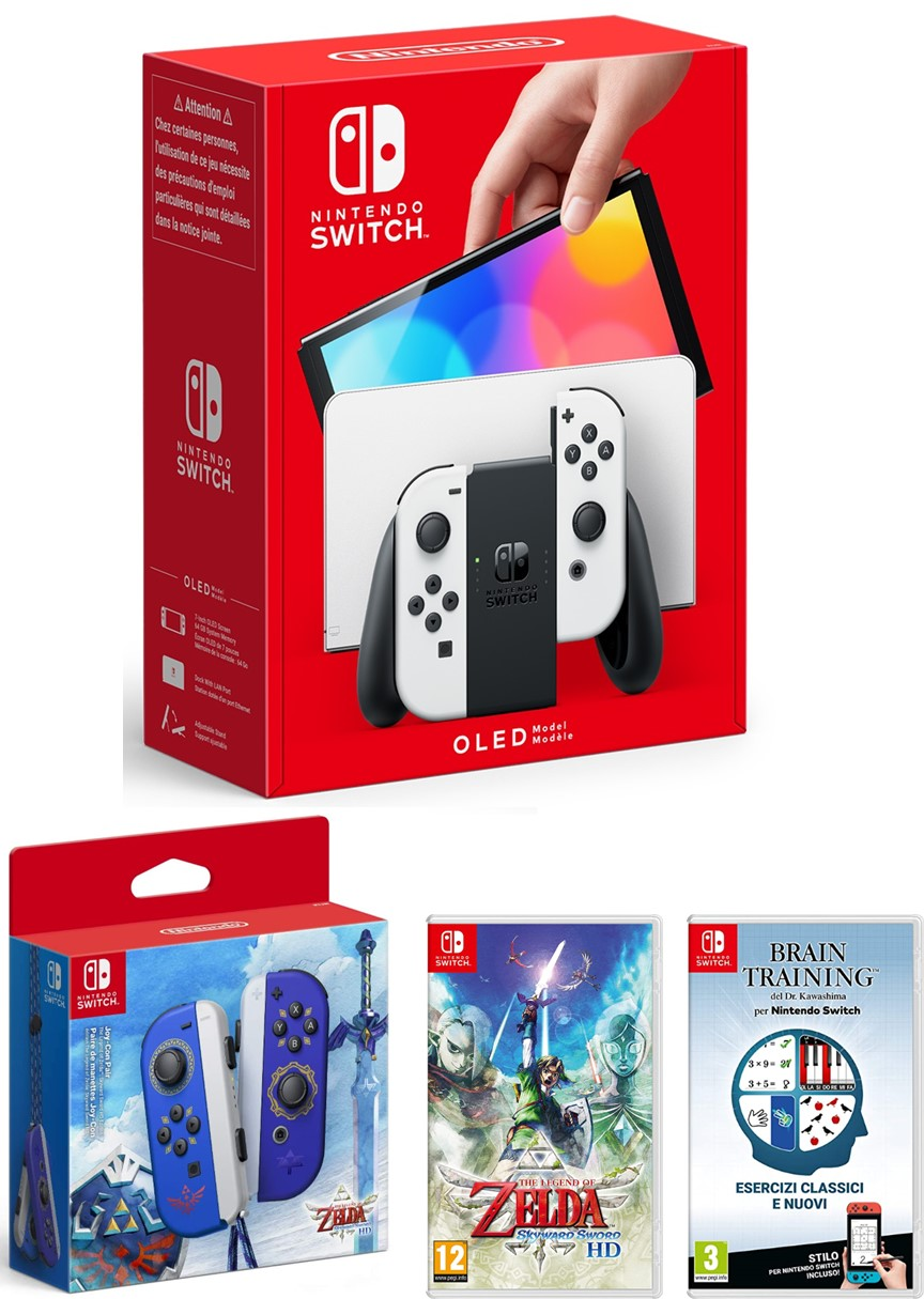 Nintendo Switch Console OLED White+Brain Training+Zelda Skyward Sword+Joy-Con Zelda S.S.