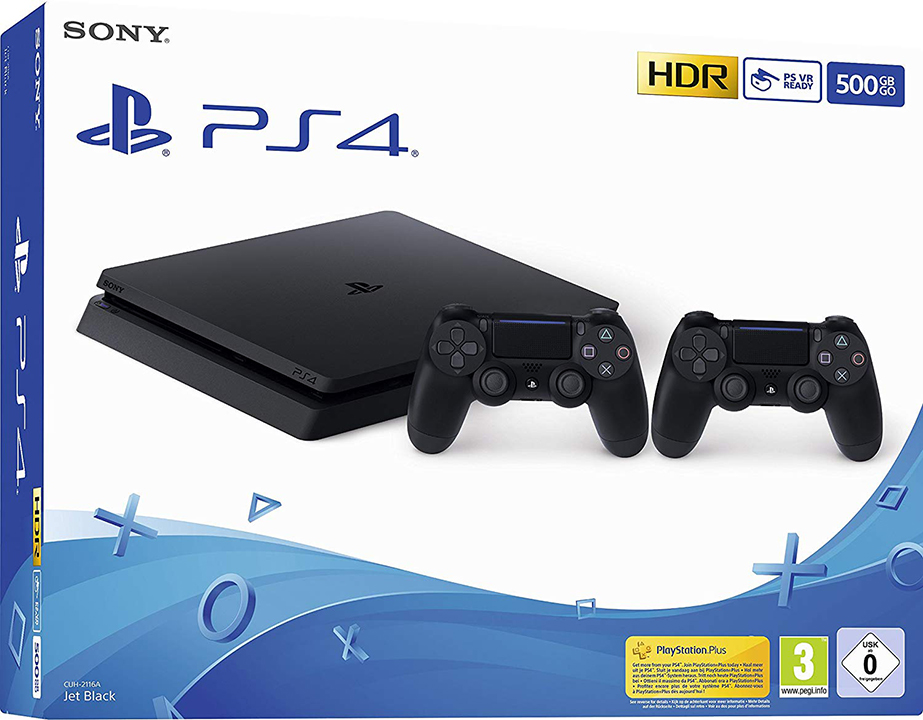Sony Computer Ent. PS4 Console 500GB F Chassis Slim + 2 DualShock V2 EU