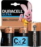 Duracell Duracell Ultra Batterie Mezza Torcia LR14 MX1400 C Alcaline 2pz