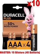 Duracell (10 Confezioni) Duracell Plus Batterie 4pz MiniStilo LR03 MN2400 AAA