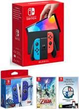 Nintendo Switch Console OLED Red/Blue+Brain Training+Zelda Skyward Sword+Joy-Con Zelda S.S.