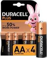 Duracell (1 Confezione) Duracell Plus Batterie 4pz Stilo LR6 MN1500 AA