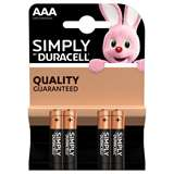 Duracell (1 Confezione) Duracell Simply Batterie 4pz MiniStilo LR03 MN2400 AAA