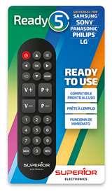 Superior Electronics Superior Telecomando Ready 5 Universale (Samsung,LG,Panasonic,Sony)