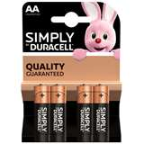 Duracell (1 Confezione) Duracell Simply Batterie 4pz Stilo LR6 MN1500 AA
