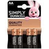 Duracell Duracell Simply Batterie Stilo LR6 MN1500 AA Alcaline 4pz