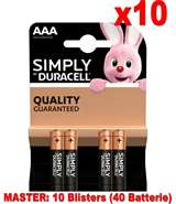 Duracell (10 Confezione) Duracell Simply Batterie 4pz MiniStilo LR03 MN2400 AAA