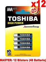 Toshiba (12 Confezioni) Toshiba Batterie 4pz MiniStilo LR03GCP BP-4 AAA Alcaline