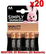 Duracell (20 Confezioni) Duracell Simply Batterie 4pz Stilo LR6 MN1500 AA
