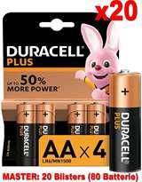 Duracell (20 Confezioni) Duracell Plus Batterie 4pz Stilo LR6 MN1500 AA