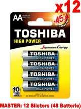 Toshiba (12 Confezioni) Toshiba Batterie 4pz Stilo LR6GCP BP-4 AA Alcaline