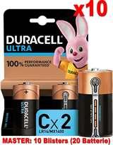 Duracell (10 Confezioni) Duracell Ultra Batterie 2pz Mezza Torcia LR14 MX1400 C