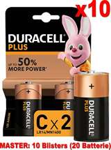Duracell (10 Confezioni) Duracell Plus Batterie 2pz Mezza Torcia LR14 MN1400 C