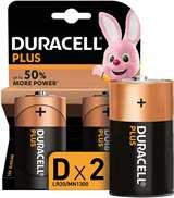 Duracell (1 Confezione) Duracell Plus Batterie 2pz Torcia LR20 MN1300 D Alcaline