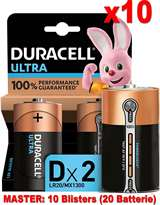 Duracell (10 Confezione) Duracell Ultra Batterie 2pz Torcia LR20 MX1300 D Alcaline