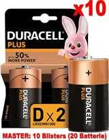Duracell (10 Confezioni) Duracell Plus Batterie 2pz Torcia LR20 MN1300 D Alcaline